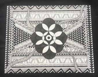 Floral- Hand drawn, geometric shapes in black and white, geometric patterns, art, art print, illustration