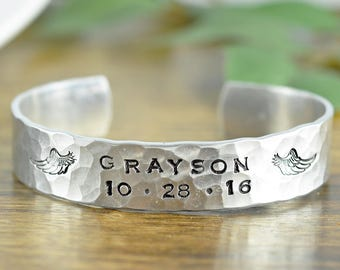Mens Cuff Bracelet, Personalized Mens Bracelet, Custom Cuff Bracelet, Mens Gift, Gift for Boyfriend, Sympathy Gift for Men, Memorial Jewelry