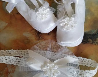 Baby Christening Shoes set with baby lace head band; Baptism shoes girl, baby girl white sarin shoes with hair lace band
