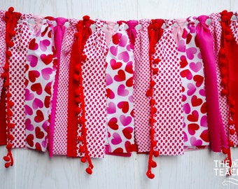 Valentines Fabric Bunting - FREE Shipping - Valentines Garland - Valentines Bunting - Valentines Party - Valentines Banner - Valentines Day