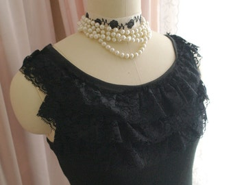 SALE Romantic whimsical Lace Tiered Ruffles Tank Top Black Goth Gothic Cute Ballerina Slim Cami Camisole