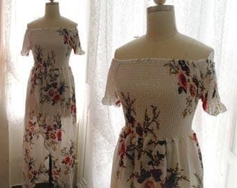 Woodland Boho Bohemian Floral Print Maxi Dress Goddess white Drape Long Dress white floral off shoulder dress