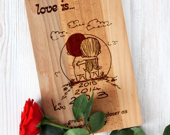 Custom cutting board - LOVE IS - Wedding cutting board - Sticker by Kim Casali