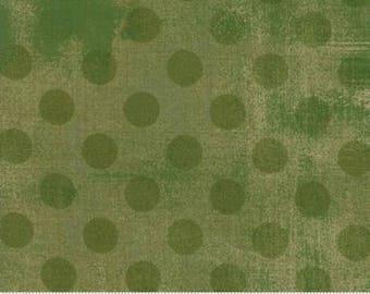 Grunge Hits the Spot - Dots in Vert - Basic Grey for Moda - 30149-32 - 1/2 yard