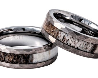 Deer Antler Ring in Tungsten Hammered Finish 8mm Comfort Fit Wedding Band