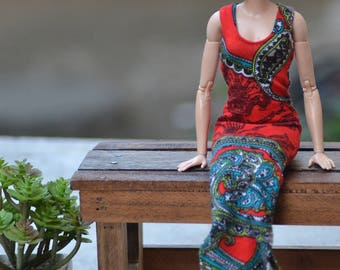 MADE TO ORDER - Red Paisley Tank Maxi Dress for 12in Fashion Dolls