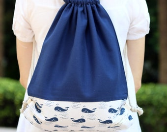 Drawstring backpack/ Cotton backpack/ Drawstring bag/ handmade backpack/ Gym bag/ Swim bag ~ Little whales (B97)