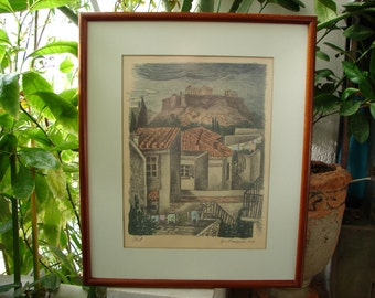 1938 dated & signed framed print of The Acropolis and surrounding houses below at Plaka, wooden frame, matt glass