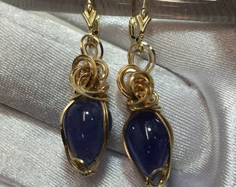 Tanzanite Earrings - Blue Violet - 14K gold fill - leverbacks 13.52ct (1410g7-55
