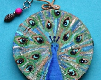 Peacock Christmas, holiday, ornament, birch wood slice, round, art on wood, bird, blue, turquoise, crystals, painting on wood, green