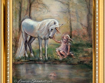 """Fantasy, Unicorn - ORIGINAL pastel painting - wall art, Enchanted forest """"Magical Facade"""" Laurie Shanholtzer"""
