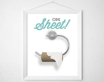 Funny Bathroom Print - Oh Sheet - empty toilet paper roll powder room poster wall art quote pun fun humor kids children rules modern minimal