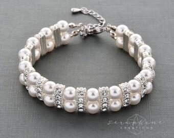 Bridal Pearl Bracelet Cuff Two Strand Wedding Jewelry Swarovski Pearl Cubic Zirconia Classic B04