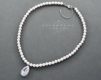Pearl Necklace, Wedding Pearl Necklace, Wedding Jewelry, Bridal Pearl Necklace, Swarovski Pearl, Cubic Zirconia, Victoria N13