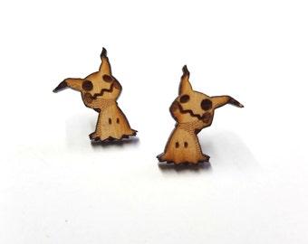 Mimikyu Pokemon Earrings | Laser Cut Jewelry | Hypoallergenic Studs | Wood Earrings