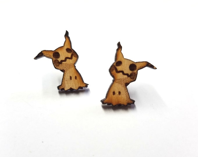 Mimikyu Pokemon Earrings | Laser Cut Jewelry | Hypoallergenic Studs | Wood Earrings