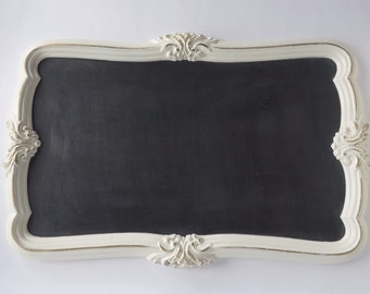 Ornate Framed Chalkboard Mirror, Large Vintage Blackboard Reversible, Wedding Shabby Chic, White Gold
