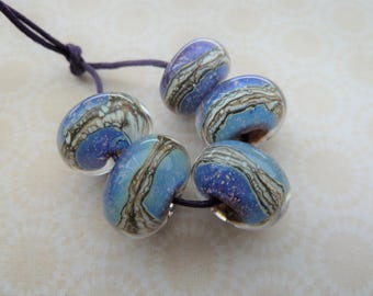 handmade lampwork silver glass beads, UK encased set