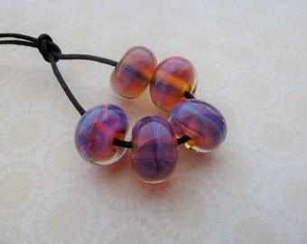 handmade lampwork reactive glass bead set, UK pink purple