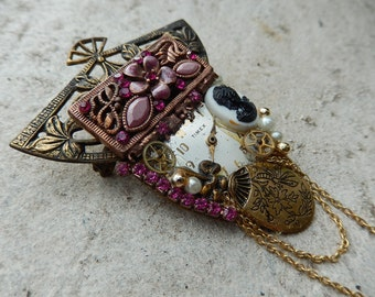 Steampunk Watch Broach - Watch Pin - Pink & Goldtone Brooch - Handmade Broach - Brooch  Pin - Victorian Brooch
