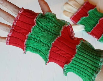 Sale! Eco Friendly gloves, arm warmer, upcycled sweaters, patchwork cable knit christmas fingerless gloves, bohemian glove, red and green