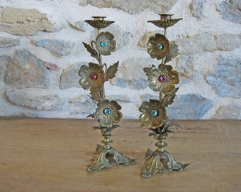 French tole candlesticks, pair of tall French gilded candle holders with flowers