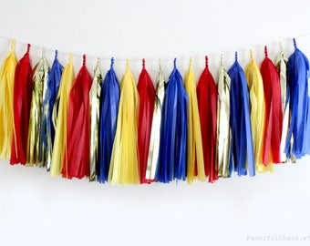 Red, Yellow, Blue, Gold Tissue Paper Tassel Garland- Wedding, Birthday, Bridal Shower, Baby Shower, Party Decorations