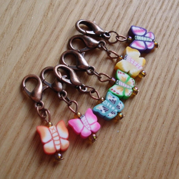 Snag Free FIMO Butterfly Crochet Stitch Markers Set of 6 - Crochet Tools - Gift for Crocheters - Cute Animal Stitch Marker, Polymer Clay