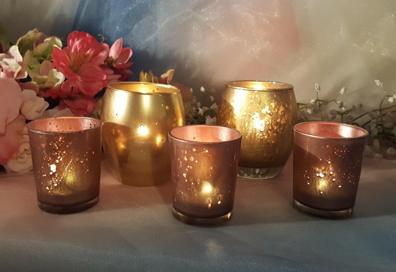 30 rose gold mercury glass votive candle holders parties. Black Bedroom Furniture Sets. Home Design Ideas