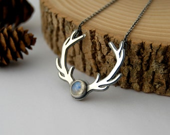 Antler necklace - sterling silver antler necklace rainbow moonstone cabochon