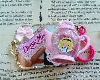 Alice in Wonderland Pink tea pot keychain cute Disney accessories tea party favor kawaii lolita charm