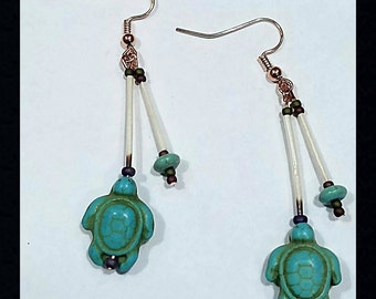Alaskan Porcupine Quill Earrings With Turtles and Copper Wire