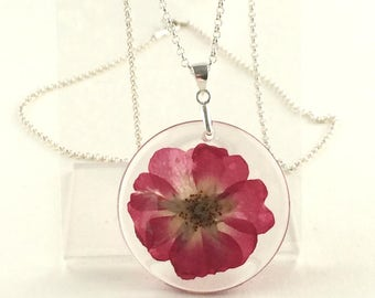 Sterling silver ' Real Rose ' necklace. real flower, 925 silver, nature * Elegant Curiosities *