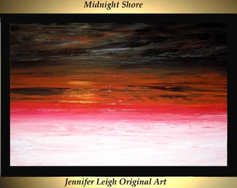 Original Large Abstract Painting Modern Acrylic Painting Oil Painting Canvas Art MIDNIGHT SHORE Black White 36x24 Textured Wall Art  J.LEIGH