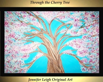 """Original Large Abstract Painting Modern Acrylic Painting Oil Painting Canvas Art Cherry Blossom Tree White 36x24"""" Textured Wall Art J.LEIGH"""
