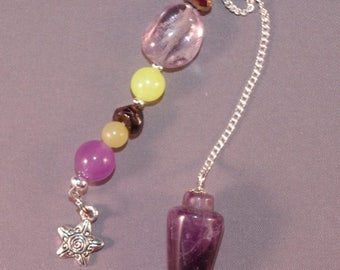 SPRING CLEARANCE Amethyst and Star New Age Dowsing Pendulum 124841P