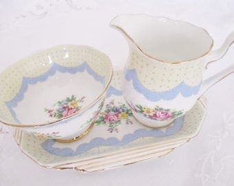 Rare Royal Albert Crown China Prudence blue 3 piece cream, sugar and serving plate set, excellent condition