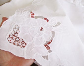 Vintage white cotton cutwork tablecloth, table topper or bistro table, square table cloth, white cotton table ware, excellent condition