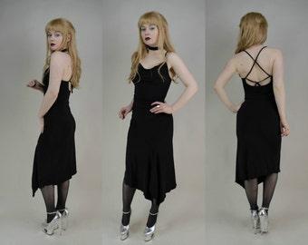 90s Black Cowl Neck Crossback Asymmetric Midi Dress XS / S