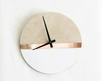 Modern Wall Clock, Trending Home Decor Art, White and Copper, Birch Wood Clock,  Housewares, Home and Living, Unique Wall Clock