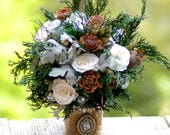 Custom FINAL PAY for Jenny Wedding Bouquet and FREE Boutonniere Winter Fall Ivory and Green