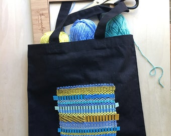 MADE TO ORDER - Black tote bag decorated with contemporary hand woven texture weave