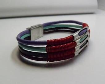 """Multi Color Leather Bracelet - 8 1/4"""""""