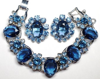 Juliana D&E Blue Rhinestone Bracelet Earring Set