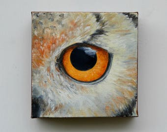 Original oil painting on canvas, owl painting, wall art, home decor - Eye See You series fifteen