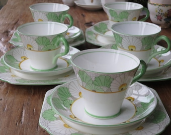 Gladstone Art Deco vintage china tea cup trio