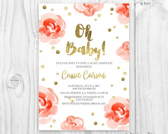 Floral Watercolor salmon, orange coral rose and gold foil baby shower invitation