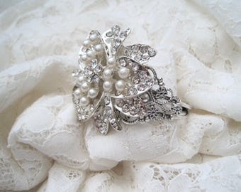 Cuff Bracelet Antique Silver Refashioned Bridal Wedding Cuff with a Gorgeous Pearl Crystal Brooch Bride Bridesmaid Mother of the Bride Prom