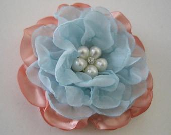 Gorgeous Peach Satin with Blue Chiffon Hair Clip Bride Bridesmaid Mother of the Bride Choose Pearl or Rhinestone Accent Hair Accessories