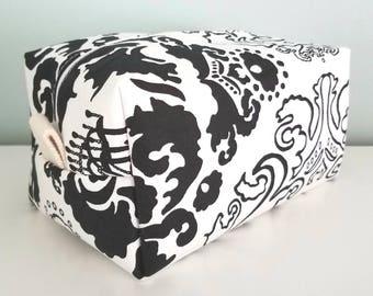 Black and White Floral Cosmetic Bag - Large Makeup Bag - Waterproof Makeup Bag - Mens Toiletry Bag